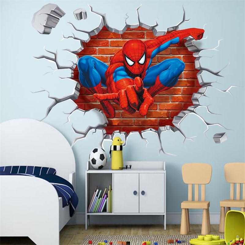 HTB1tc rJXXXXXb.aXXXq6xXFXXXQ - 45*50cm hot 3d hole famous cartoon movie spiderman wall stickers for kids rooms boys gifts through wall decals home decor mural