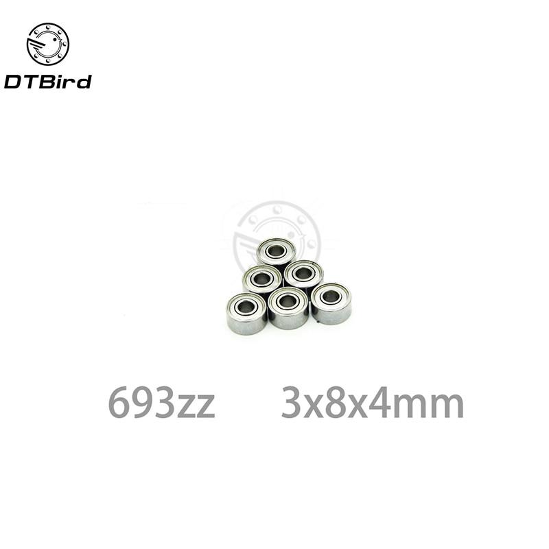 4 PCS 6.35x9.525x3.175 mm Metal Shielded FLANGED Ball Bearing Set FR168ZZ