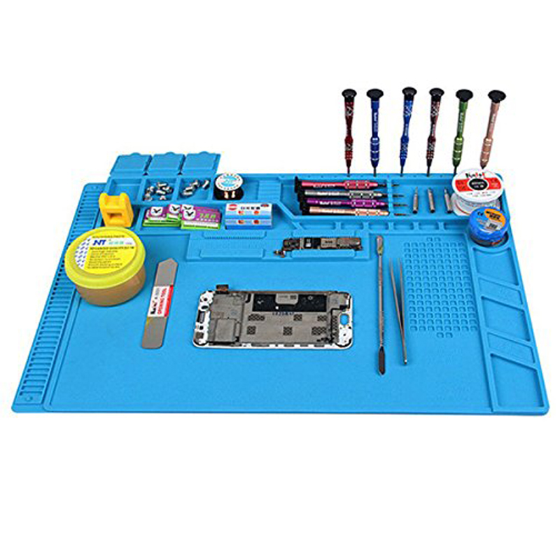 цена на S-160 S-150 S-140 S-120 Heat Insulation Silicone Soldering Pad Mat Desk Maintenance Platform For Repair Station With Magnetic