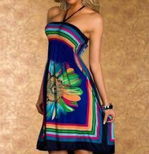 Boho Летнее женское платье пикантные солнца Платья для женщин с открытыми плечами Цветочный принт Туника Пляжные наряды большой Размеры Холтер Мини Сарафан
