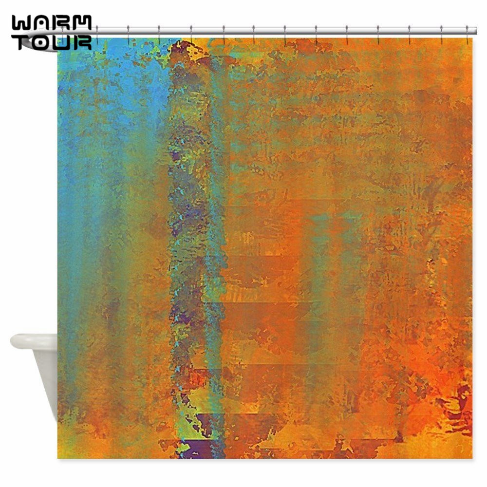 Warm Tour Abstract In Aqua Copper And Gold Decorative Fabric Shower Curtains for Bathroom WTC074