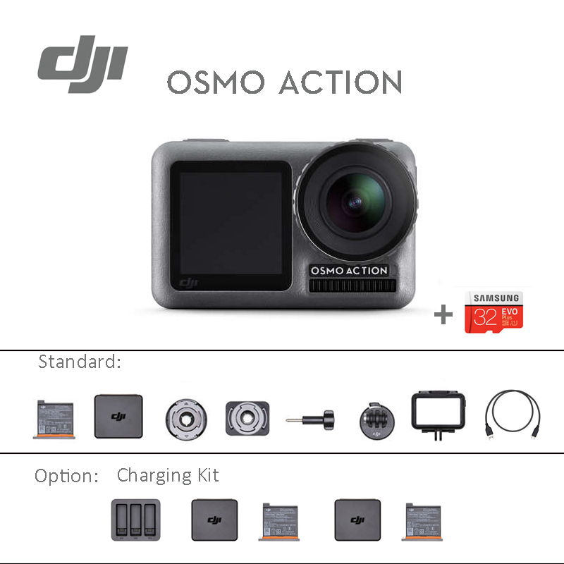 DJI Osmo Action Sports camera with 32GB microSD dual screens 4K HDR Video UHD Image Quality