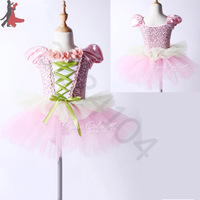 2018 new sexy fashion foreign trade childrens pink Princess Tutu flower girl ballet dance dress free shipping hot sale
