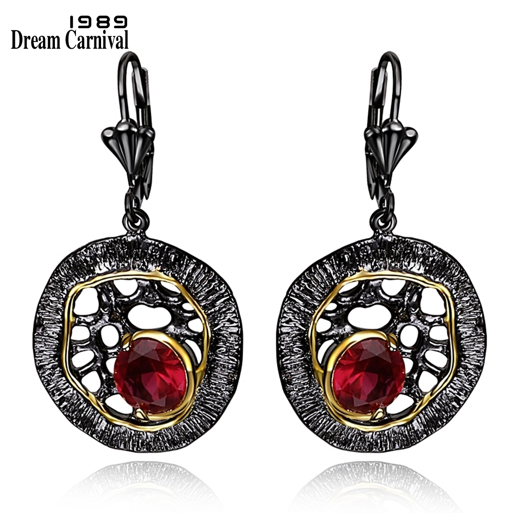 DC1989 Free Shipping 2016 Disk Design 18K Gold Plated Cubic Zirconia Brass Lead Free French Hook