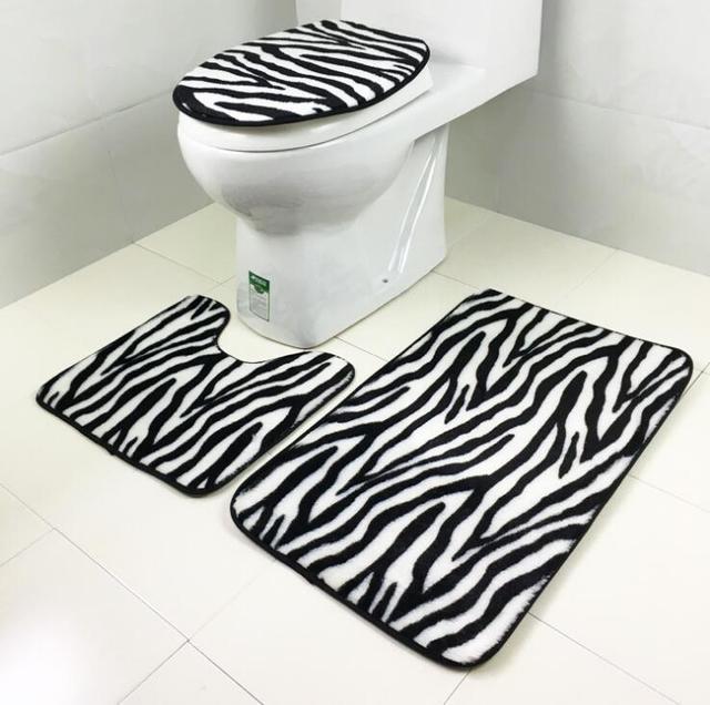 Hot 3 STKS/* een sets Badkamer Matten Set Coral Fleece Kleed Kit Wc ...