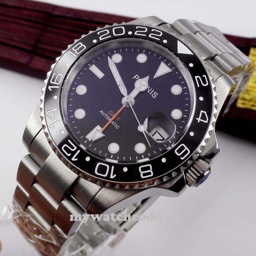 Prix pour 40mm Parnis cadran noir verre de Saphir En Céramique lunette GMT automatique mens montre 338