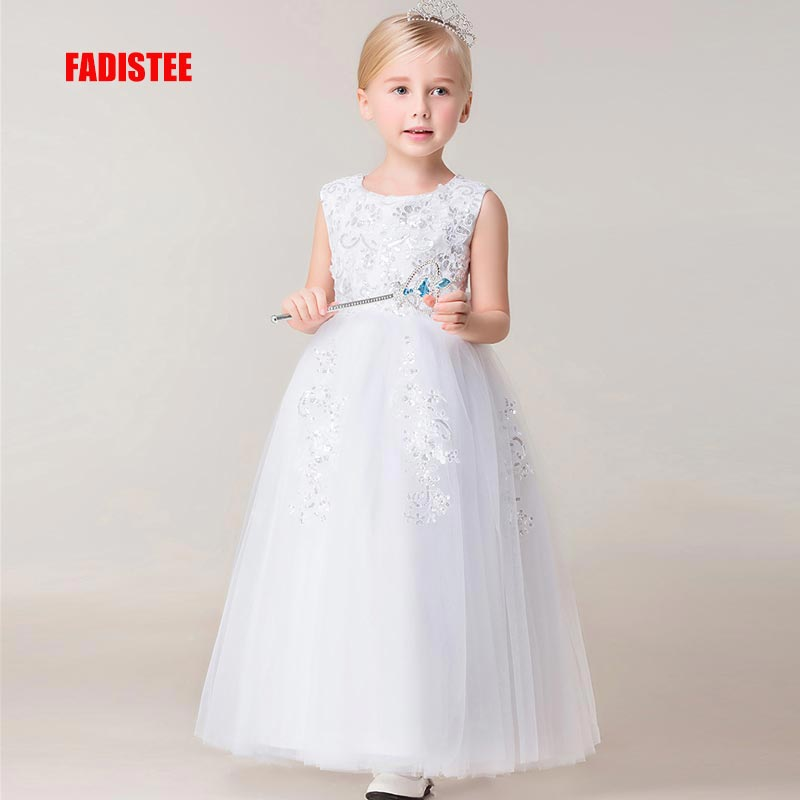 FADISTEE New Arrival Pretty   Flower     Girl     Dresses   appliques lace sequins Baby   Girl     Dress   with floor length long style   dresses