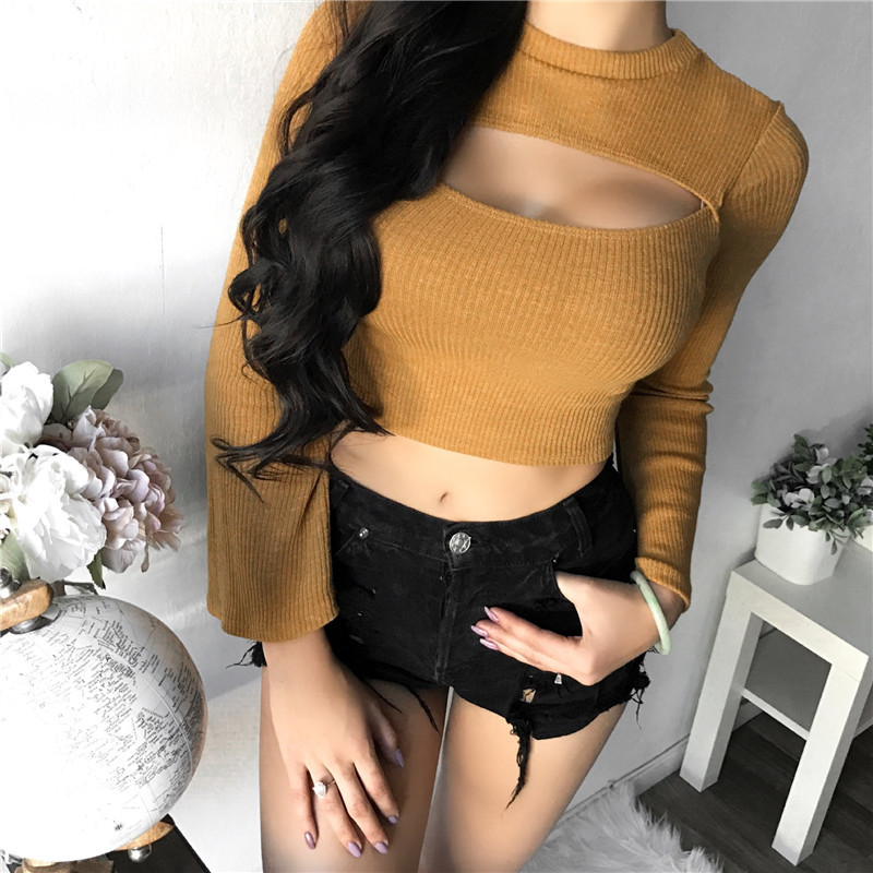 European style sexy hollow out knit crop top woman spring autumn long sleeve flare sleeve thin knit female t-shirt