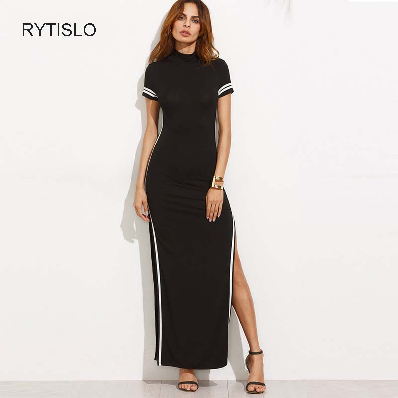 RYTISLO Quality Woman Dress Patchwork Ankle-Length Fit and Flare Dress Short Sleeve Turtleneck Long Dress For Summer