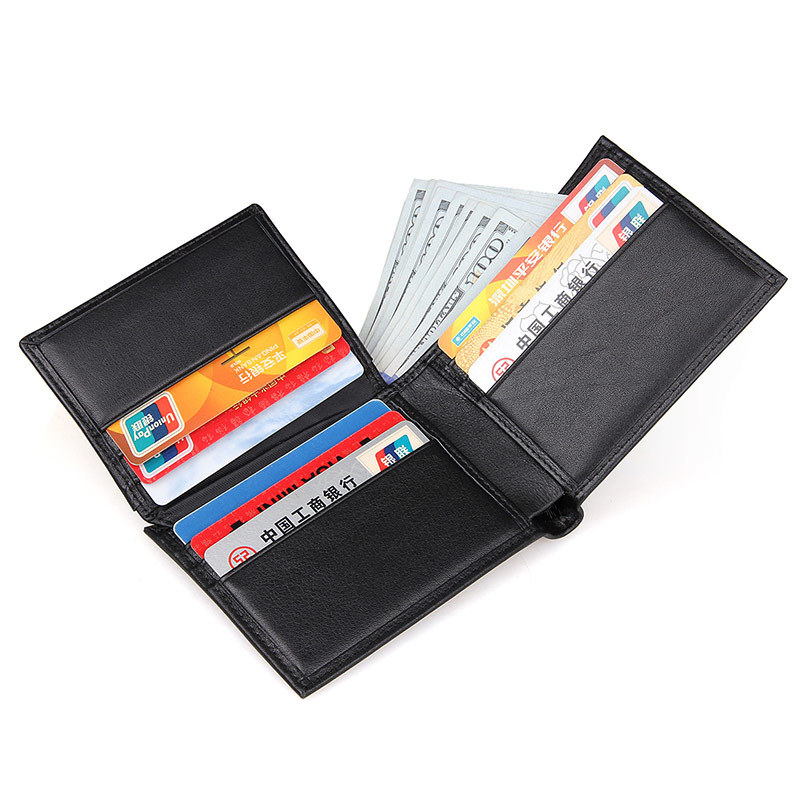RFID wallet Small dollar black Business casual wallet Men top Layer Genuine leather Card Holder Short Design purse