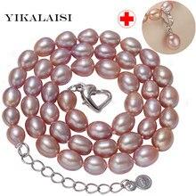 935188c4959c Yikalaisi 2017 perla natural de agua dulce gargantilla collares 925 joyería de  plata esterlina 8-9mm COLLAR COLGANTE para las mu.
