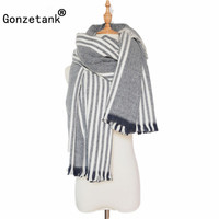 Gonzetank Luxury Brand 2017 Winter New Womens Long Multicolor Stripe Charm Warm Multifunctional Fashion Scarves and Shawl China
