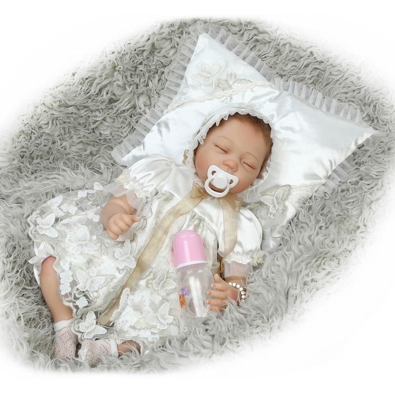 55cm Soft Body Silicone Reborn Baby Dolls Toy For Girls Exquisite Sleeping Newborn Babies Bedtime Toy Birthday Gift Bonecas