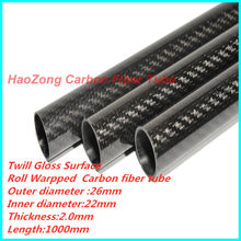 26MM OD x 22MMID x1000MM(1.0m) Carbon Fiber Tube 3k 100% full carbon, (Roll Wrapped) Suit for RC Helicopter 26*22