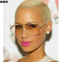 HBK 2017 New Oversized Gold Clear Cool Square Sunglasses Women Large Size Sun Glasses Fashion Brand