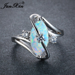 JUNXIN Unique Women Blue/White Fire Opal Stone Ring 925 Silver Color Luxury AAA Zircon Wedding Jewelry Promise Engagement Rings