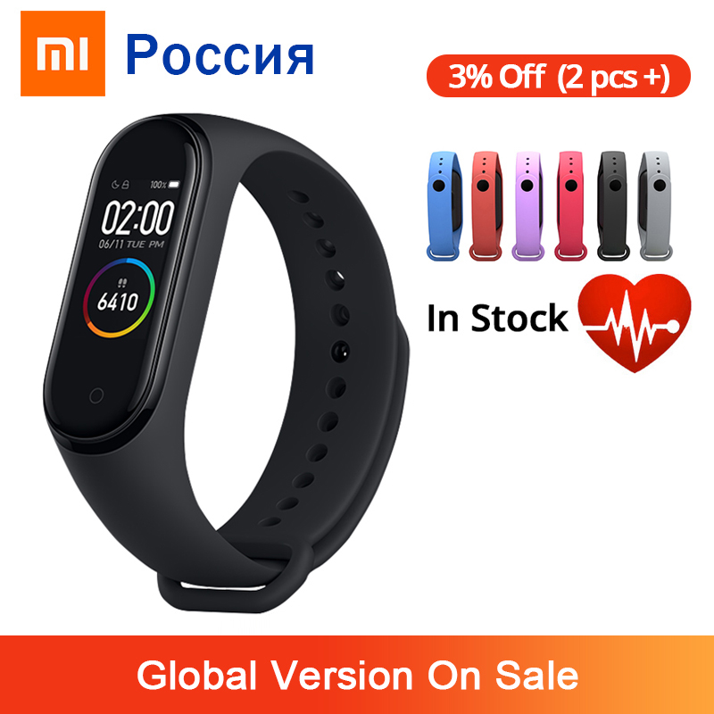 Xiaomi Mi Band 4 Smart Bracelet 3 AMOLED Color Screen Miband 4 Heart Rate Fitness Bluetooth Sport 50ATM Waterproof SmartBand(China)