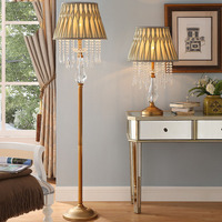 Luxtry Diamond Shape Crystal Living Room Floor Lamp Atmosphere Fringed Crystal Pendant Lampshade Bedroom Decoration Floor Lamp