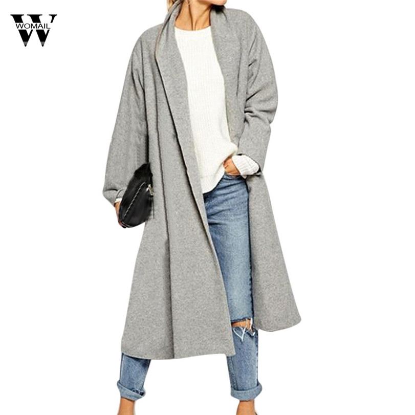 WOMAIL Plus Size Solid Simple Women 2018 Autumn Open Stitch Trench Women's Long Cardigan Jackets Overcoat Tops Coats Outwear