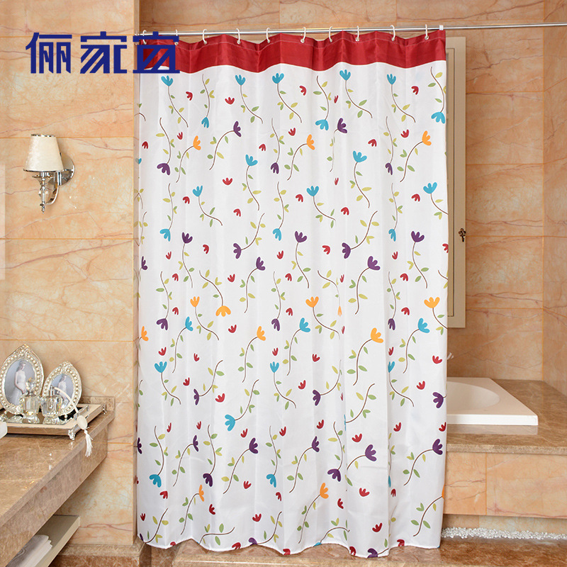 High Quality Colorful Flower Shower Curtains Polyester Waterproof Bathroom Shower Curtain America Style Bath Curtain With Hooks