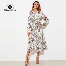 Eileen Elisa 2017 Maxi Dress Long Sleeve Vintage Printed Dresses Autumn Elegant Womens One Piece Casual Dress With Belt