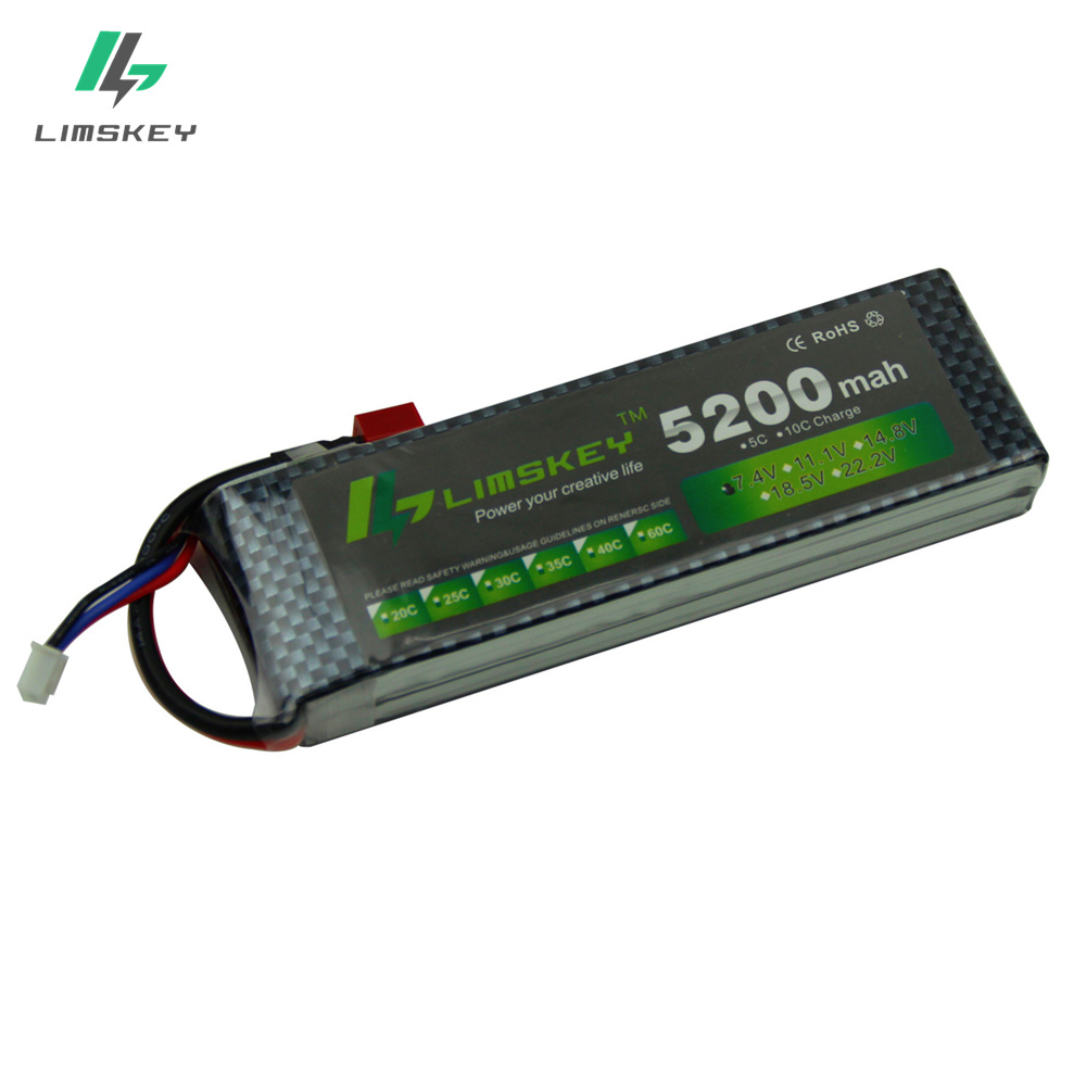 Limskey Power 7.4V 5200mAh Lipo Battery 30C 2S Battery 2S LiPo 7.4 V 5200 mAh 30C 2S 1P Li Batterie For RC car