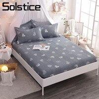 Solstice Thuis Textiel 100% Katoen Voorzien Laken Grijs Hart Liefde Matrashoes Protector Meisje Kid Volwassenen Sprei Koningin Twin