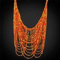 Lớn Nhiều lớp Maxi Necklace 2016 Độc Đáo Trang Sức Quà Tặng Đầy Màu Sắc Tổng Hợp Coral Bead Bohemian Statement Necklace Phụ Nữ N1728