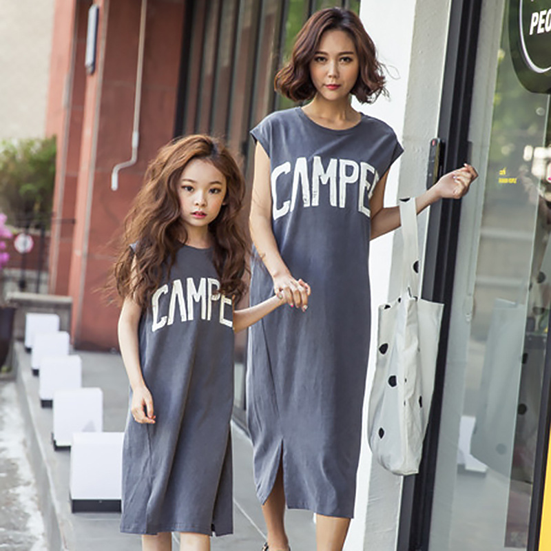 Summer Mother and Daughter Fashion Casual Long Dress 2017 Children Pure Cotton Letter Printing Vest Skirt