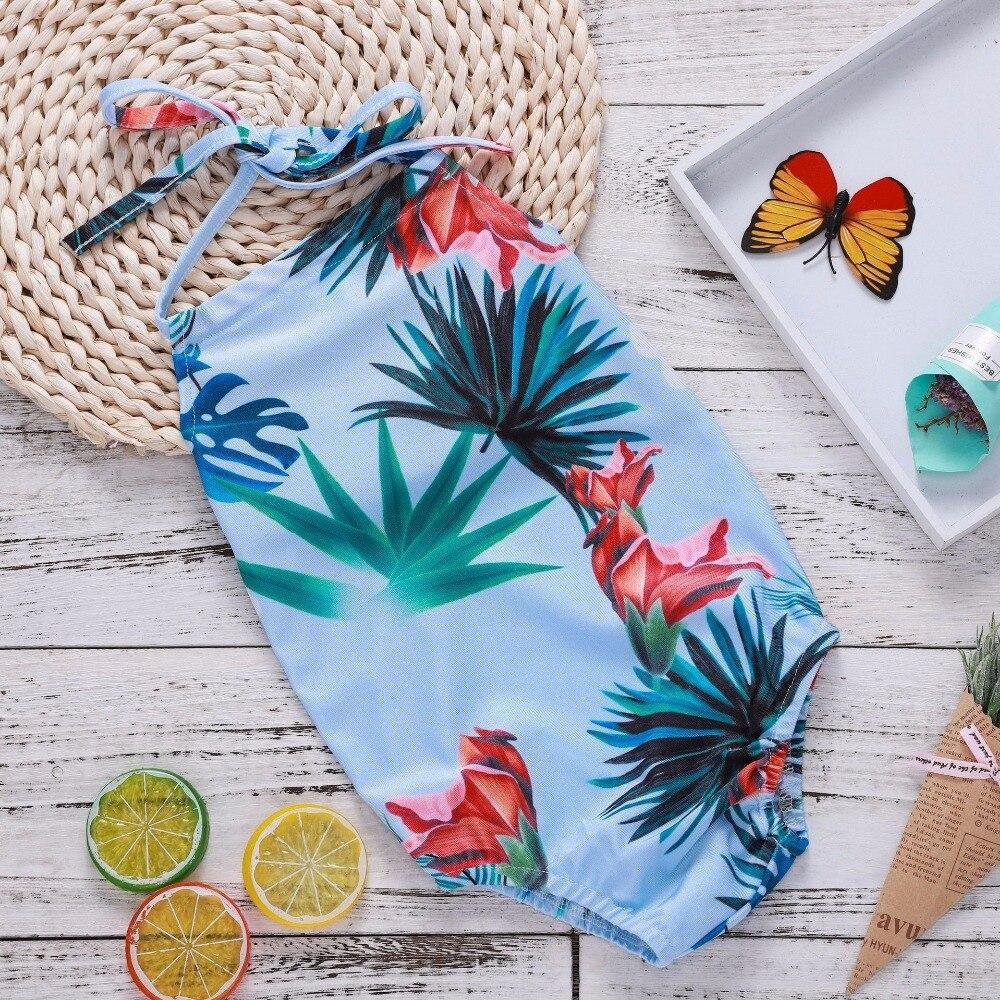 2018 Newborn Onesie Leaf Outfits Baby Girl Bodysuit Flower Print Baby Summer Bodysuit Hanging Neck Backless Halter Beachwear