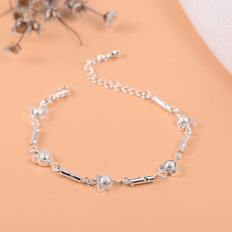 925 סטרלינג צמיד כסף נשים בנות יוקרה מותג לב יפה חמוד עכס תכשיטי Pulseras Mujer