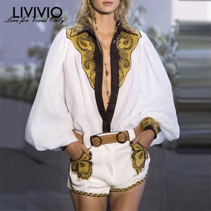 [LIVIVIO] 2019 Summer Vintage Floral Embroidery Women Two Piece Set Matching Set Outfit Long Lantern Sleeve Top And Short 2piece
