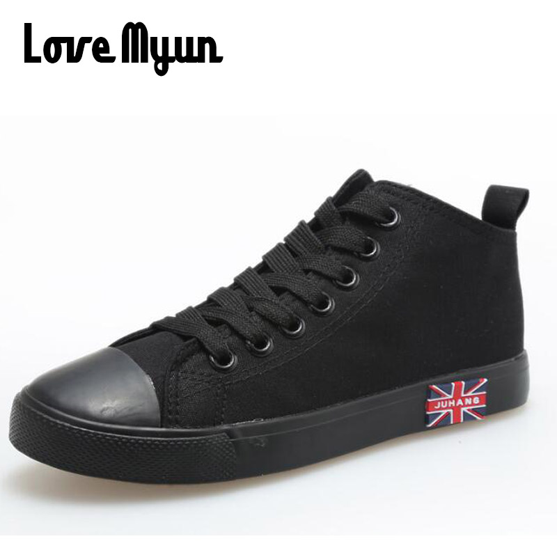 2018 New fashion All Black Red Male casual flats sneakers shoes Men lace up walking shoes canvas high top shoes NN-35 new arrival summer fashion men flats shoes all black white red casual shoes mens canvas shoes lace up high top shoes nn 14