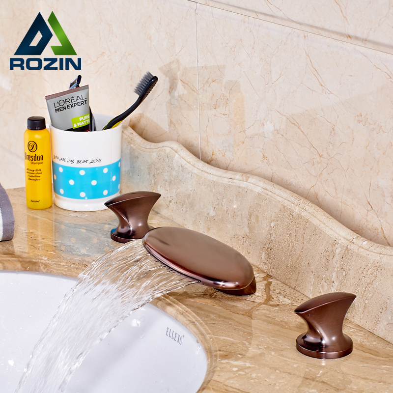 New Modern Dual Knob Basin Faucet Waterfall Spout Widespread 3 Hole Bathroom Tub Mixer Taps Oil Rubbed Bronze