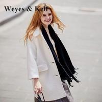 Weyes & Kelf Woolen Overcoat Women Winter Coat 2017 New Winter Lapel Long Wool Winter Trench Coats Women White Coat Women