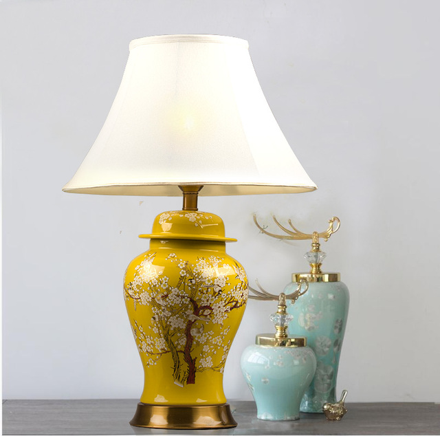 US $278.0 |Plum blossom chinese porcelain ceramic table lamp bedroom living  room wedding table lamp Jingdezhen large ceramic table lamps-in Table ...
