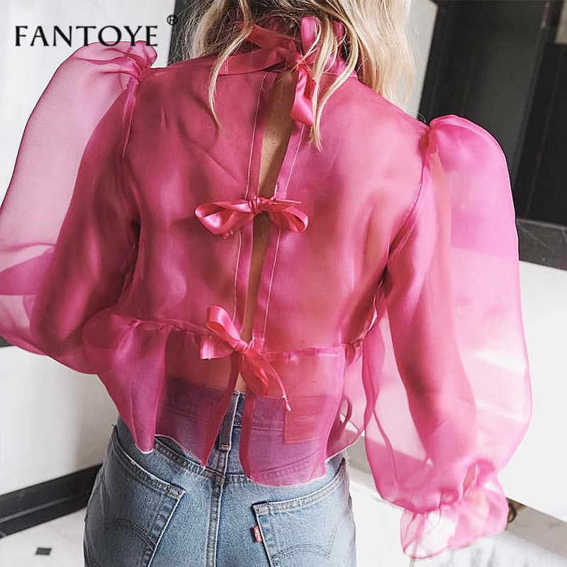 Fantoye Women Fashion Thin Tulle Transparent Blouses Shirt See Through Elegant Lady Summer Tops Female Puff Sleeve Sexy Blusas