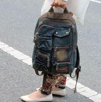 9da70a785fb5 MAYFULL Новый высокое качество ретро рюкзак женский джинсовый Повседневный  дорожный рюкзак школьный ранец рюкзак для девочек