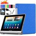 """Estilo de seda de luxo pu caso capa de couro para lenovo yoga tablet 10 b8000 b8000-h b8000-f 10.1 """"Tablet Tampa Flip Inteligente Awakening"""