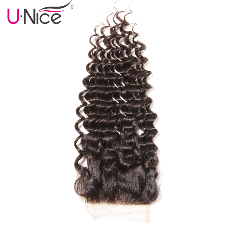 Unice Hair Peruvian Deep Wave Lace Closure 1 PCS Free Part Peruvian Remy Hair Bundles 100% Human Hair Free Shipping-in Closures from Hair Extensions & Wigs    2