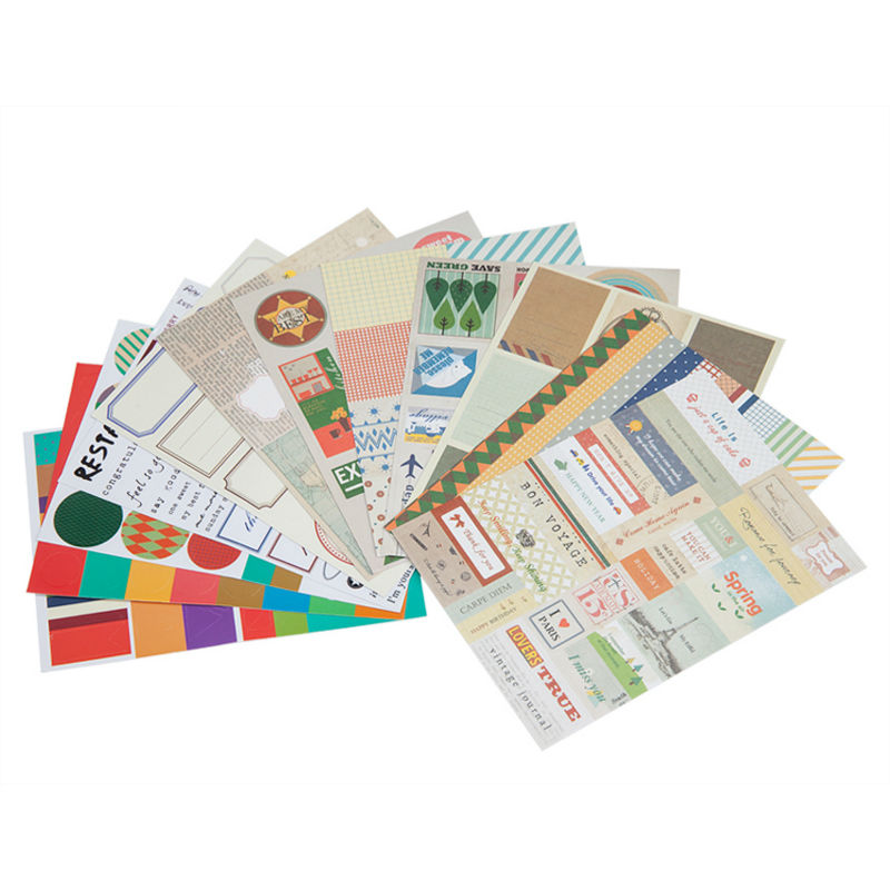 1pcs/lots 12 Sheets Scrapbook Stickers Vintage Stamp ...