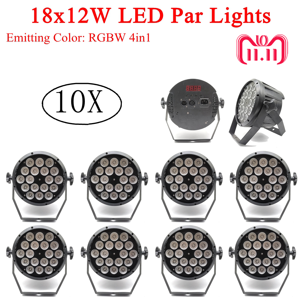 Flightcase Pack 10pcs / lot 18x12W led Par lights RGBW 4in1 dmx512 DJ Disco lights profesional stage dj equipment