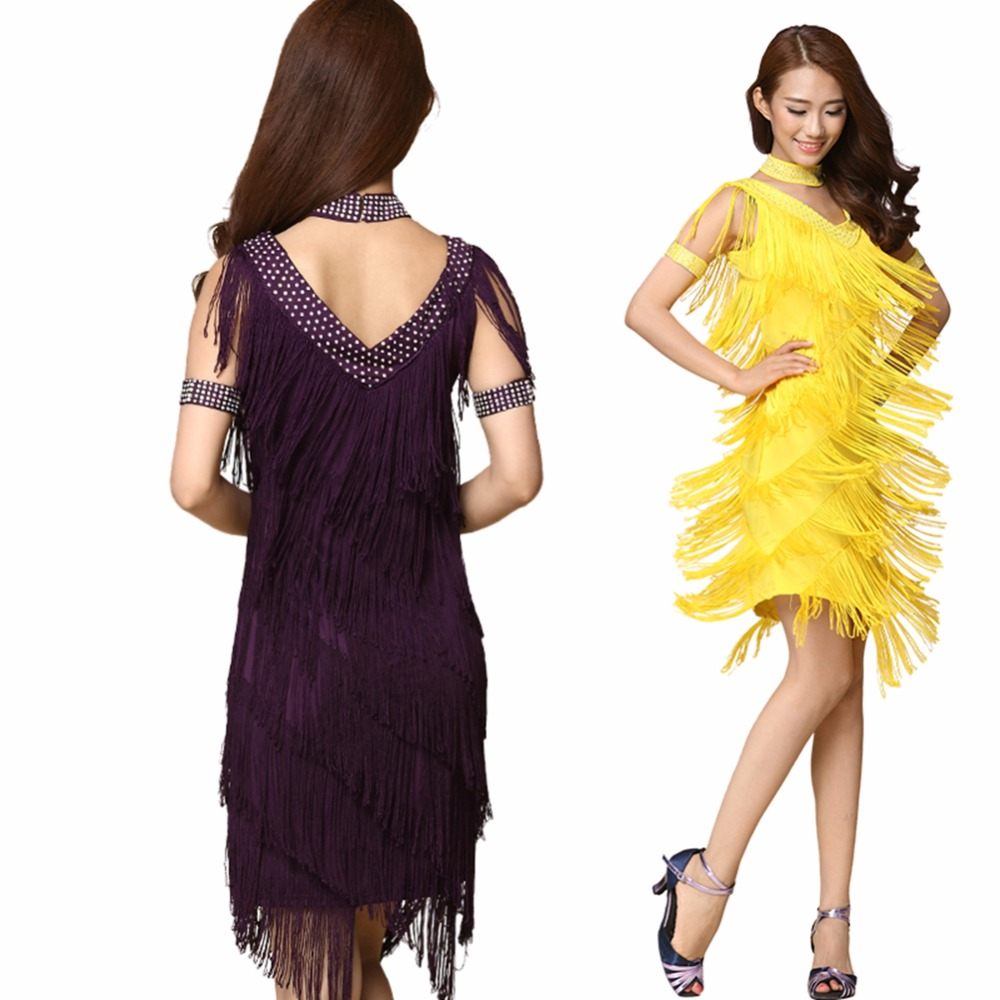 103cd9e3c200a 2018 Vintage Bling Fashion V Neck 1920s Sequin Fringe Charleston Flapper  Great Gatsby Stage Dance Clothing