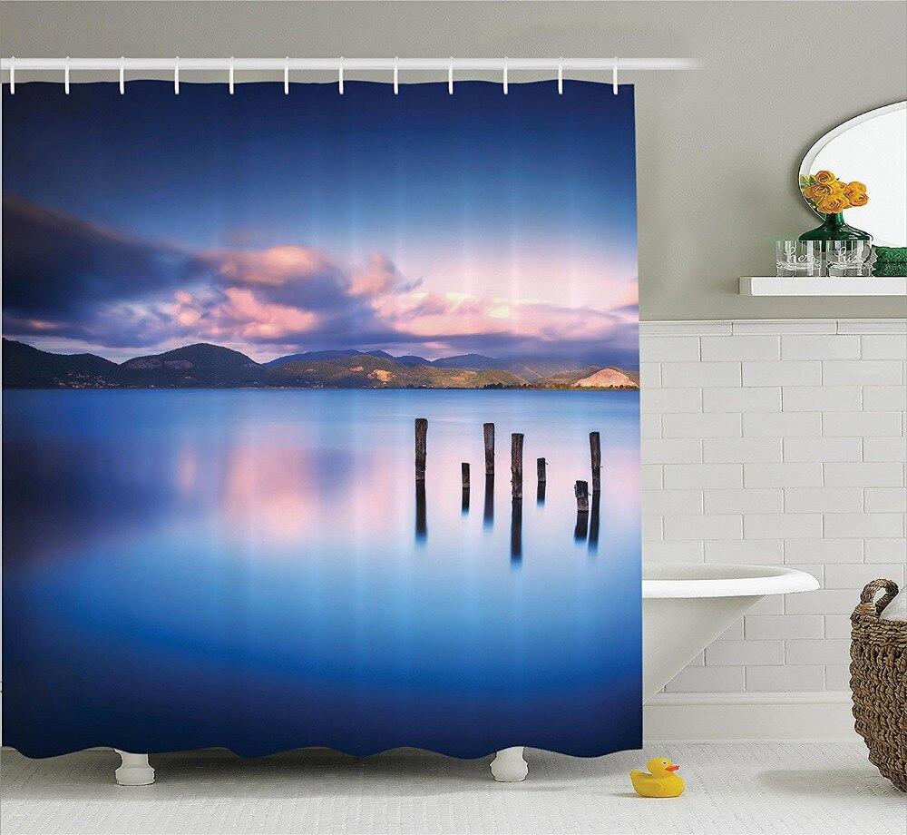Деревянный Пирс Топы корректирующие остаются в озере с закат зеркало изображение из различных перспективы Ванная комната Душ Шторы короле...