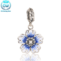 Sterling Silver Jewelry Blue Flowers Charm Bracelets Bangles Necklace For Women Beads Jewelry Making S421