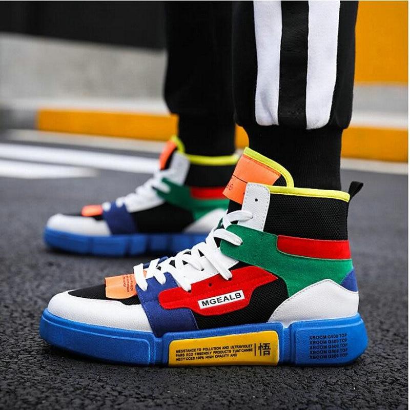 Hombres 40 Tobillo Para Casual Green Gray Caminar Zapatos Pp white Niños white Cesta Top Bule Black Hip hop Alto Neakers Zapatillas tX4Xr6