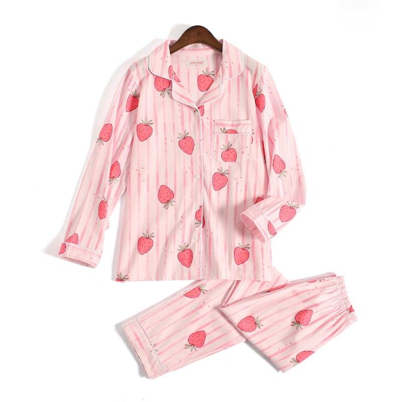 Cute pink Strawberry pajama sets women 100% knitted cotton kawaii long sleeve women homewear mujer pijama pyjamas women