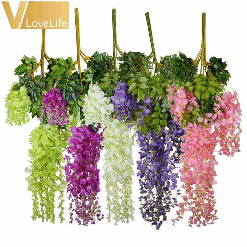 48 sztuk/partia sztuczne wiszące kwiaty jedwab Wisteria 105cm wiszące sztuczny kwiat na wesele Event Party dekoracja do przydomowego ogrodu w Sztuczne i zasuszone kwiaty od Dom i ogród na  Grupa 1