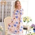 Spring New Arrival Women'S Nightgowns Long-Sleeve  100% Woven Cotton Sweet Elegant Sleepwear Lovely Nightgown Lounge 1797