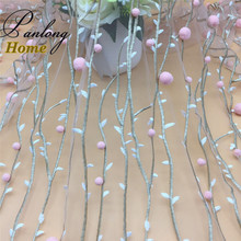 PanlongHome 2017 1.3M Wide 8 color 3D Pompom embroidery mesh cloth pom pom lace For Spring/summer fashion women's dress fabric